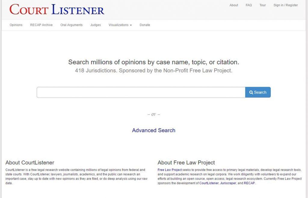 CourtListener landing page