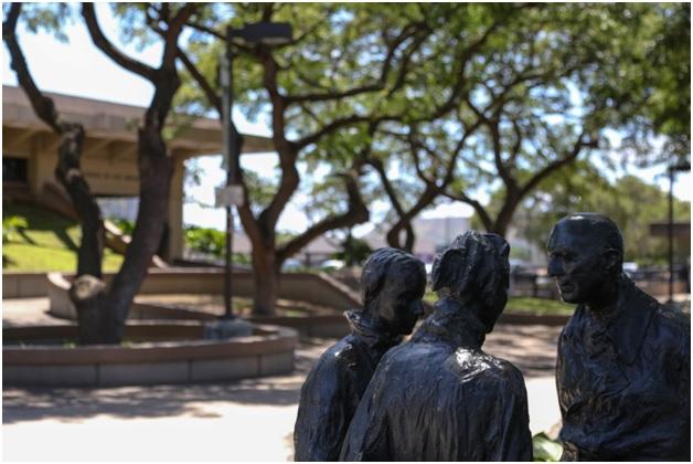 Law school courtyard statue