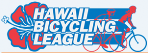 Hawaii Bicycling League logo: red hibiscus flower and riders on bikes