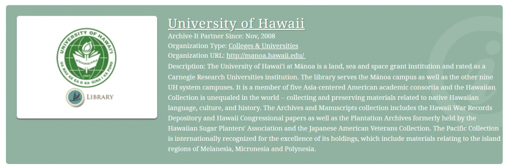 University of Hawaii Archive-It member information with description