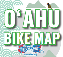 Text reading Oʻahu Bike Map with HBL logo