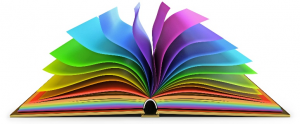 open book displayed in colors of rainbow