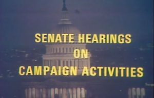 Image of US Congress building with text reading Senate Hearings on Campaign Activity
