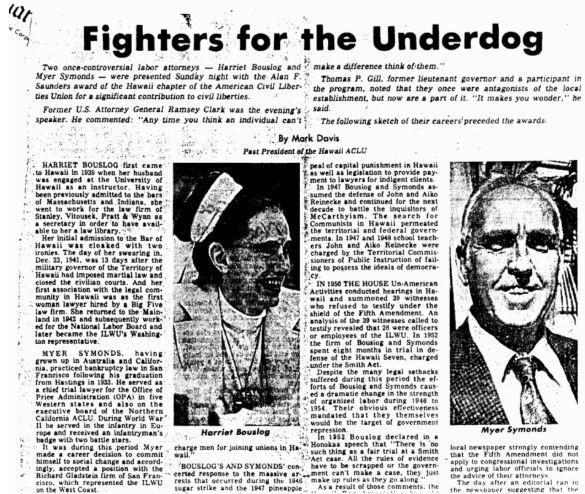"Newspaper clipping titled ""Fighters for the Underdog"""