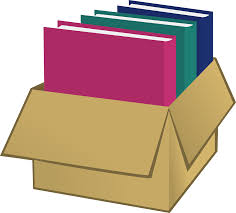 image of books in a box