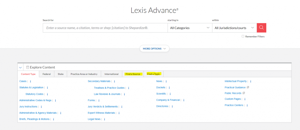Lexis Advance front page with changes highlighted