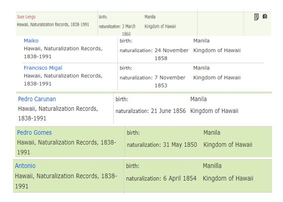 examples of naturalization data on 6 individuals