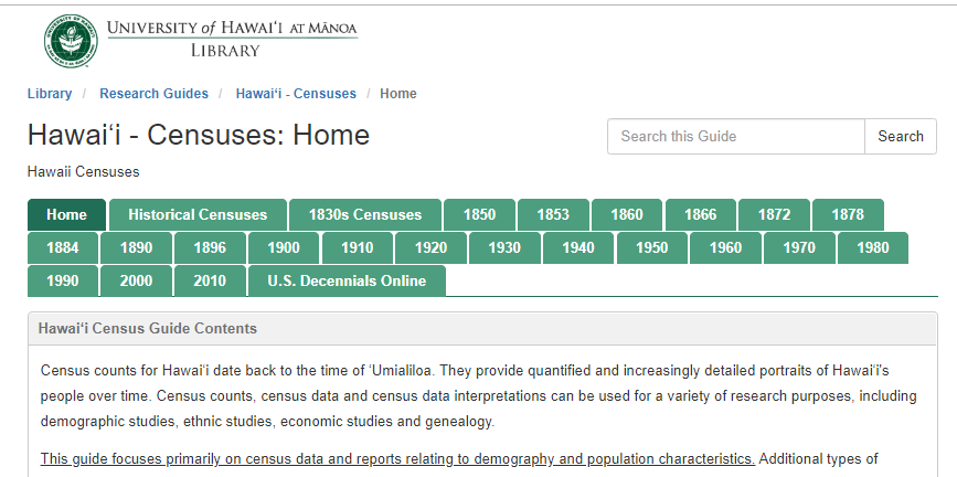 Hawaii Census LibGuide Home Page