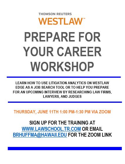 Westlaw Prepare For Your Career Workshop flyer