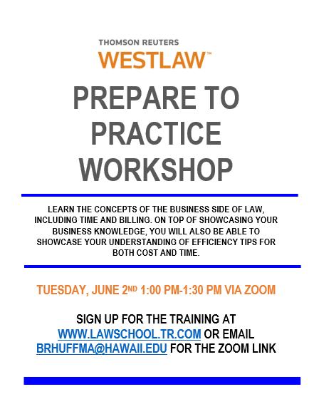 Westlaw Prepare to Practice Workshop flyer