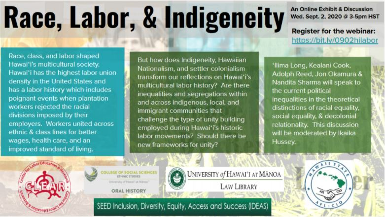 Race, Labor, & Indigeneity flyer